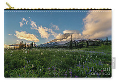 Rainier Wildflowers Golden Lenticular Sunset Carry-all Pouch by Mike Reid