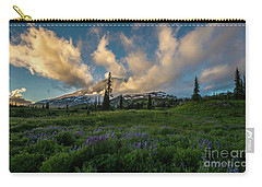 Rainier Wildflowers Meadows Golden Sunset Clouds Carry-all Pouch by Mike Reid