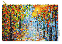 Carry-all Pouch featuring the painting Rainy Autumn Evening In The Park Acrylic Palette Knife Painting by Georgeta Blanaru