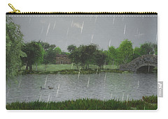 Carry-all Pouch featuring the digital art Rainy Day At The Lake by Jayne Wilson