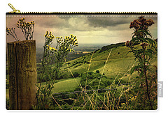 Carry-all Pouch featuring the photograph Rainy Day Hilltop View On The South Downs by Chris Lord