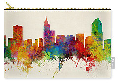 Raleigh North Carolina Skyline Panoramic Carry-all Pouch by Michael Tompsett