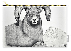 Carry-all Pouch featuring the drawing Ram by Mayhem Mediums