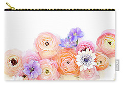Ranunculus And Daisies With Vintage Tea Cups Carry-all Pouch