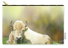 Carry-all Pouch featuring the photograph Rare White Buffalo by Janette Boyd