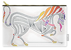 Rarin' To Go -- Stylized Medieval Prancing Horse W/ Rainbow Mane Carry-all Pouch