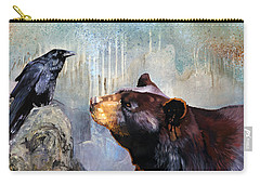 Raven And The Bear Carry-all Pouch by J W Baker