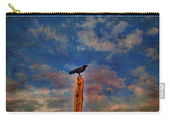 Carry-all Pouch featuring the photograph Raven Pole by Jan Amiss Photography