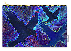 Carry-all Pouch featuring the painting Ravens On Blue by Teresa Ascone