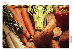 Raw Vegetables On Wooden Background Carry-all Pouch