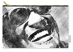 Ray Charles Bw Portrait Carry-all Pouch by Mihaela Pater