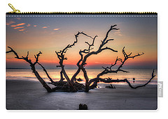 Carry-all Pouch featuring the photograph The Reaching Driftwood Beach Sunrise Jekyll Island Georgia Art by Reid Callaway
