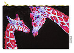 Carry-all Pouch featuring the digital art Read And Black Giraffes by Jane Schnetlage