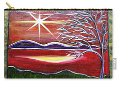 Red Abstract Landscape With Gold Embossed Sides Carry-all Pouch