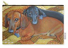 Red And Black Dachshunds - Best Buds Carry-all Pouch by Rebecca Korpita