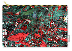 Carry-all Pouch featuring the painting Red And Black Turquoise Drip Abstract by Genevieve Esson