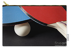 Red And Blue Ping Pong Paddles - Closeup On Black Carry-all Pouch