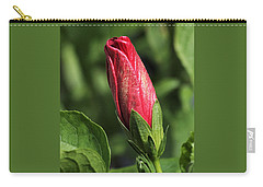 Carry-all Pouch featuring the photograph Red And Gold Hibiscus Bud by Sheila Brown