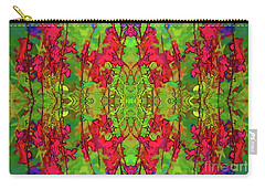 Red And Green Floral Abstract Carry-all Pouch