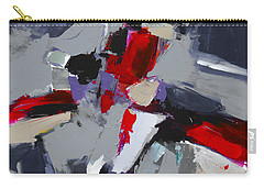 Red And Grey Abstract By Elise Palmigiani Carry-all Pouch by Elise Palmigiani