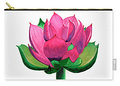 Red And Pink Lotus Floral Watercolor Painting 619 Carry-all Pouch