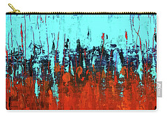 Red And Turquoise Abstract Carry-all Pouch