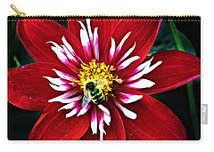 Red And White Flower With Bee Carry-all Pouch