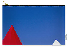 Red And White Triangles Carry-all Pouch by Prakash Ghai