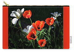 Carry-all Pouch featuring the photograph Red And White Tulips by Kathleen Stephens