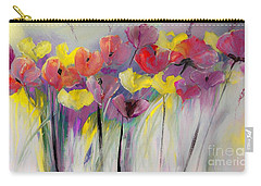 Red And Yellow Floral Field Painting Carry-all Pouch