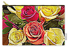 Red And Yellow Rose Bouquet Carry-all Pouch