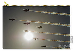Carry-all Pouch featuring the photograph Red Arrows Backlit Arrival  by Gary Eason