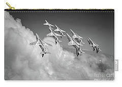 Carry-all Pouch featuring the photograph Red Arrows Sky High Bw Version by Gary Eason