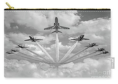 Carry-all Pouch featuring the photograph Red Arrows Smoke On Bw Version by Gary Eason
