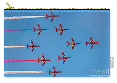 Carry-all Pouch featuring the photograph Red Arrows Typhoon Formation by Gary Eason