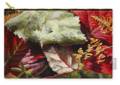 Carry-all Pouch featuring the painting Red Autumn - Wasilla Leaves by Karen Whitworth