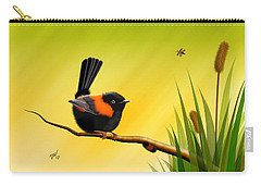 Carry-all Pouch featuring the digital art Red Backed Fairy Wren by John Wills