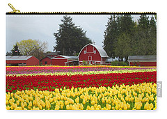 Red Barn And Tulips Carry-all Pouch