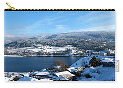 Carry-all Pouch featuring the photograph Red Barn In The Distance by Will Borden