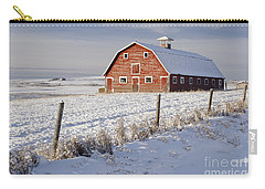 Red Barn In Winter Coat Carry-all Pouch