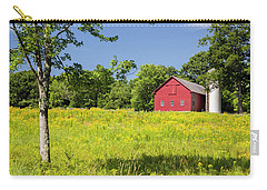Carry-all Pouch featuring the photograph Red Barn In Yellow Goldenrod Field by Betty Denise
