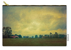 Red Barn Under Stormy Skies Carry-all Pouch by Don Schwartz