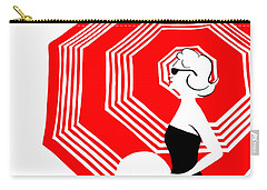 Carry-all Pouch featuring the digital art Red Beach Umbrella by Cindy Garber Iverson