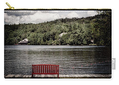 Carry-all Pouch featuring the photograph Red Bench by Christopher Meade