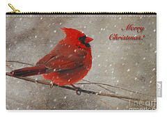 Red Bird In Snow Christmas Card Carry-all Pouch by Lois Bryan