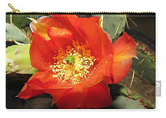 Red Bloom 1 - Prickly Pear Cactus Carry-all Pouch
