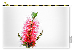 Red Bottle Brush Against An Overcast Sky Carry-all Pouch