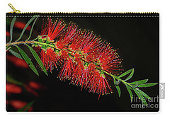 Carry-all Pouch featuring the photograph Red Bottlebrush By Kaye Menner by Kaye Menner