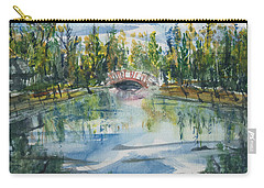 Carry-all Pouch featuring the painting Red Bridge On Lake In The Ozarks by Reed Novotny