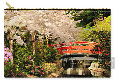 Red Bridge Reflection Carry-all Pouch by James Eddy